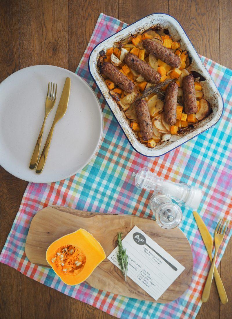 Recipe    Veggie Sausage and Butternut Squash Traybake