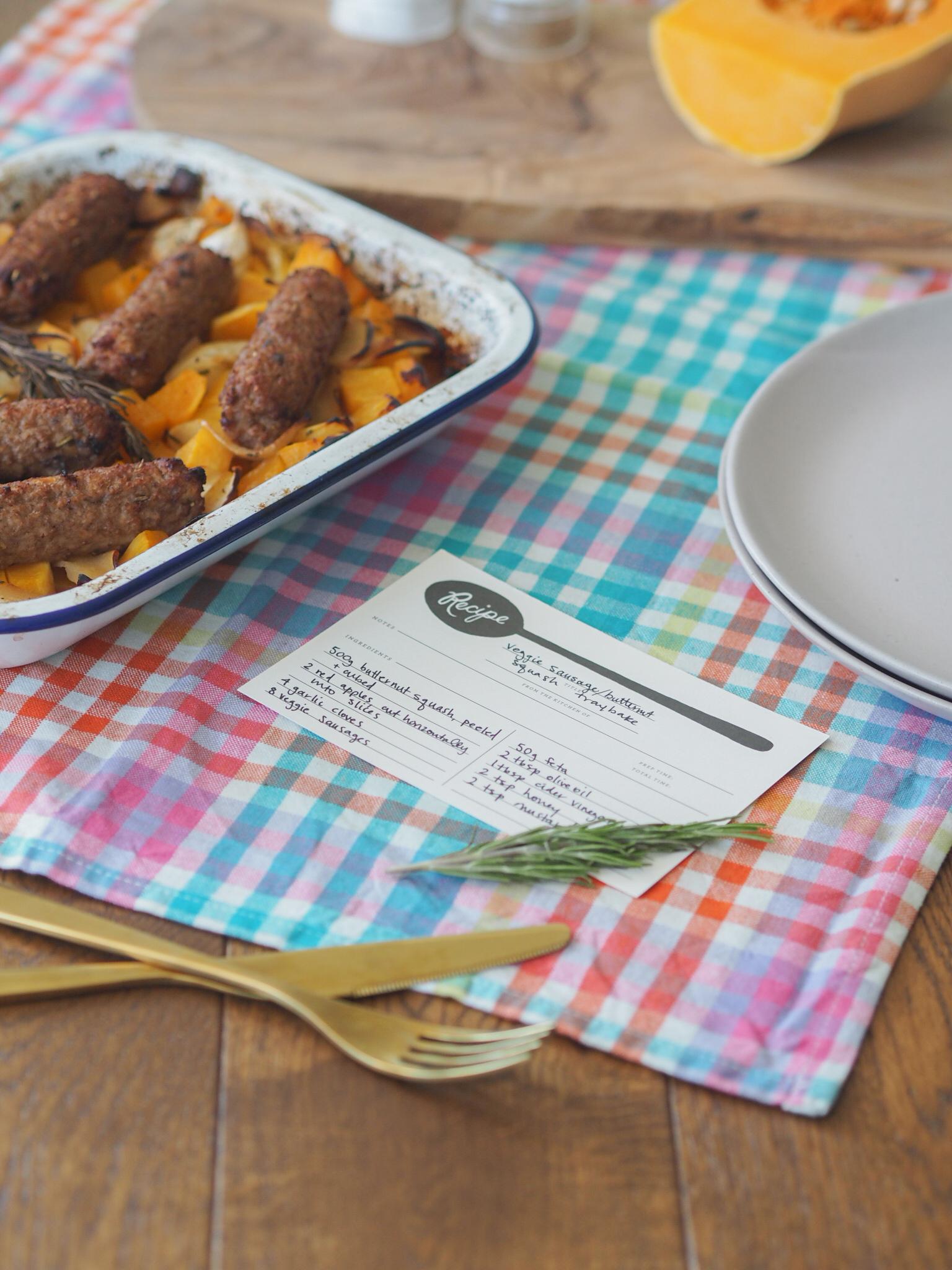 Ghenet Actually || Veggie Sausage and Butternut Squash Traybake