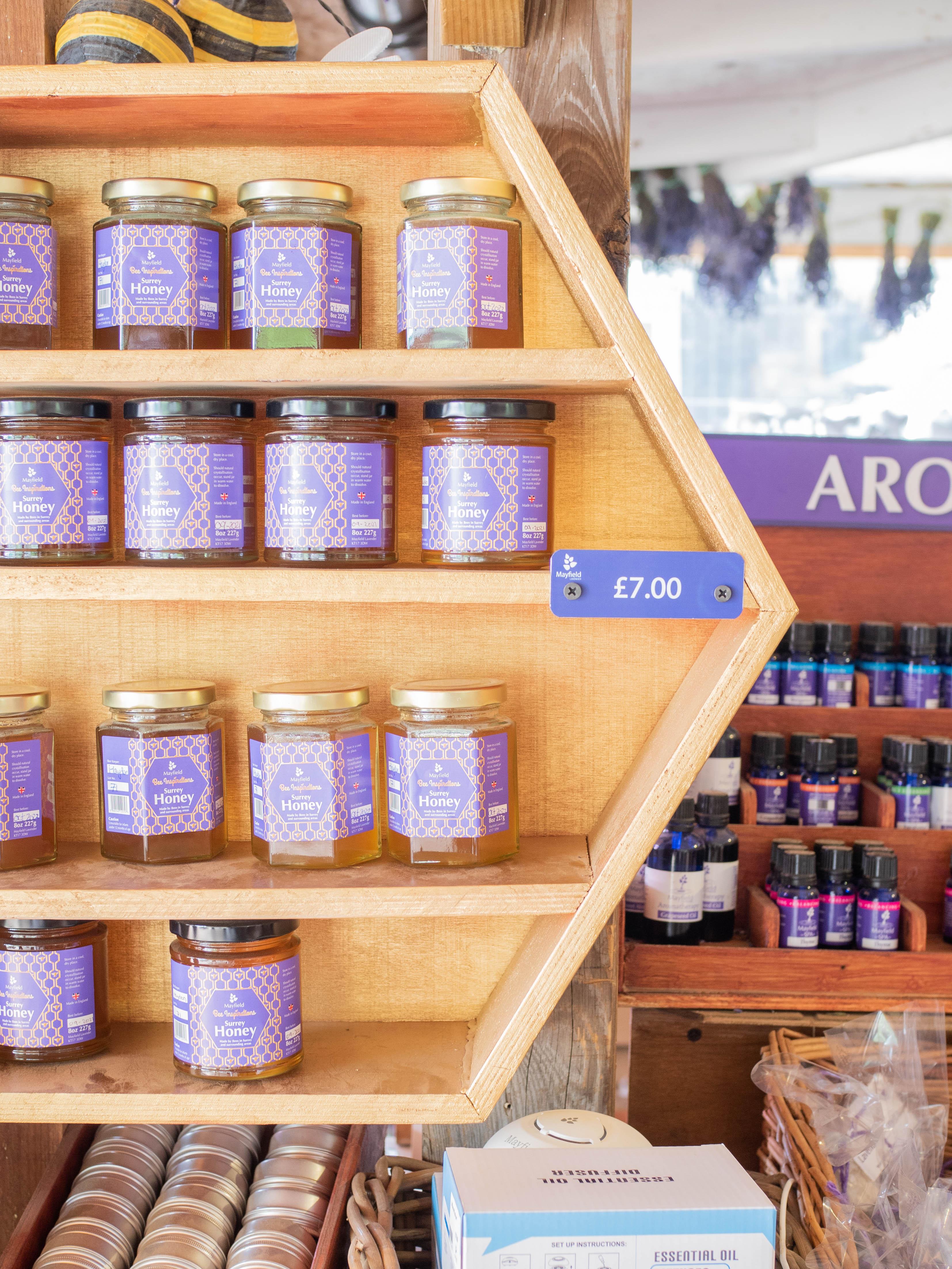 Jars of honey on display at Mayfield Lavender Farm